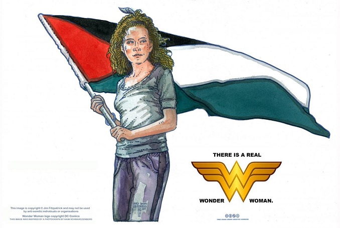 Irish Artist, Who Drew Iconic Che Guevara Poster, Portrays Ahed Tamimi as a Superhero