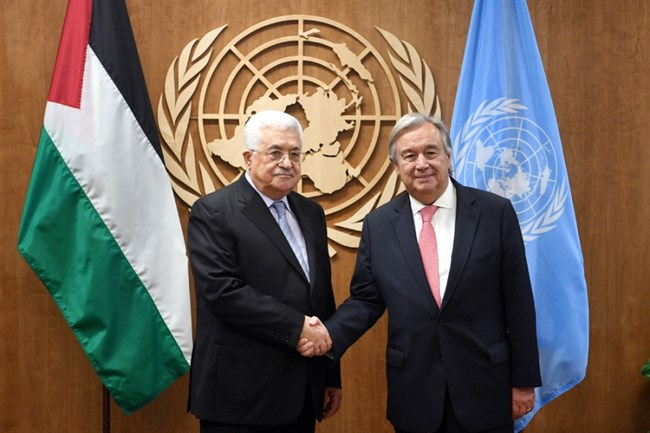 Abbas meets with UN chief in New York ahead of Trump meeting, UN address